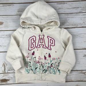 Baby GAP Girls White Zip-up Hoodie